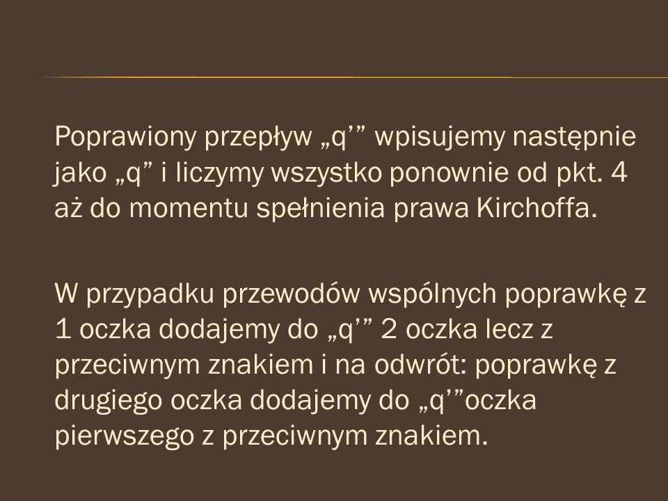 """Poprawiony przepływ """"q'"""" wpisujemy następnie jako """"q"""" i liczymy wszystko ponownie od pkt. 4 aż do momentu spełnienia prawa Kirchoffa. W przypadku prze"""