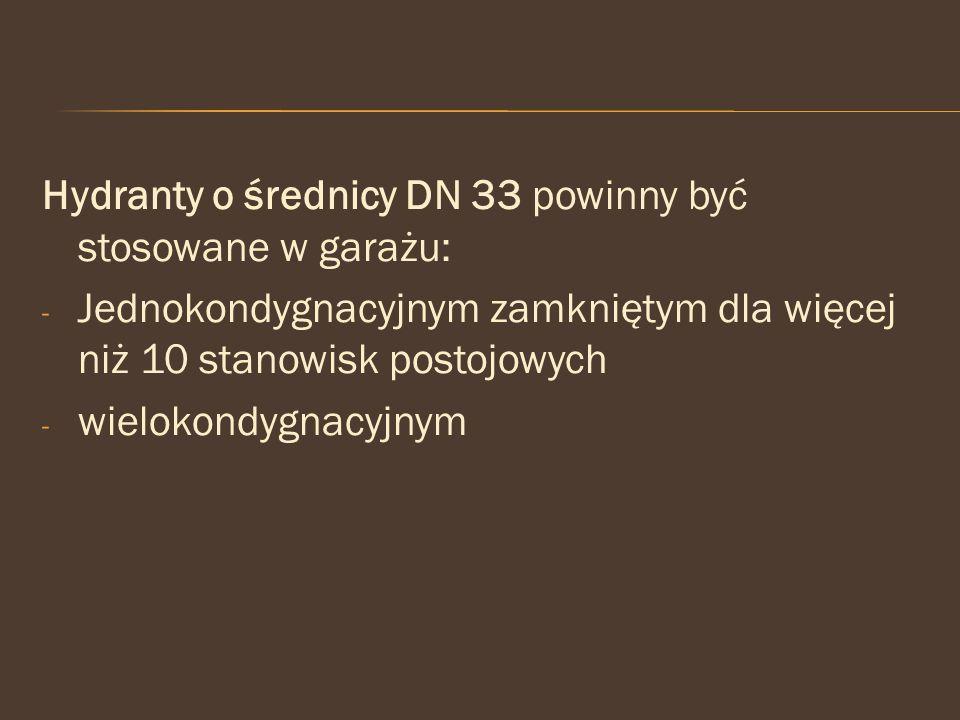 Hydranty o średnicy DN 33 powinny być stosowane w garażu: - Jednokondygnacyjnym zamkniętym dla więcej niż 10 stanowisk postojowych - wielokondygnacyjn