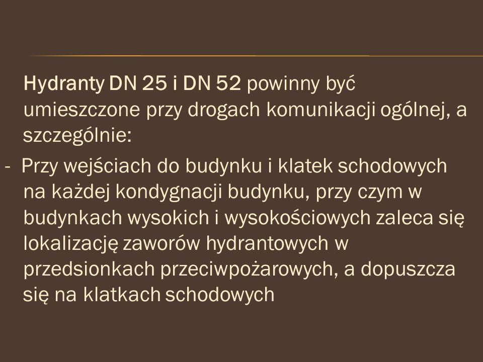 Hydranty DN 25 i DN 52 powinny być umieszczone przy drogach komunikacji ogólnej, a szczególnie: - Przy wejściach do budynku i klatek schodowych na każ