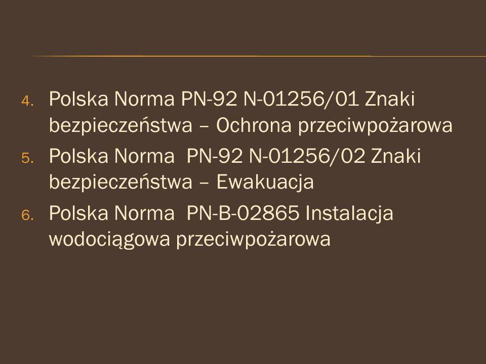 4. Polska Norma PN-92 N-01256/01 Znaki bezpieczeństwa – Ochrona przeciwpożarowa 5. Polska Norma PN-92 N-01256/02 Znaki bezpieczeństwa – Ewakuacja 6. P