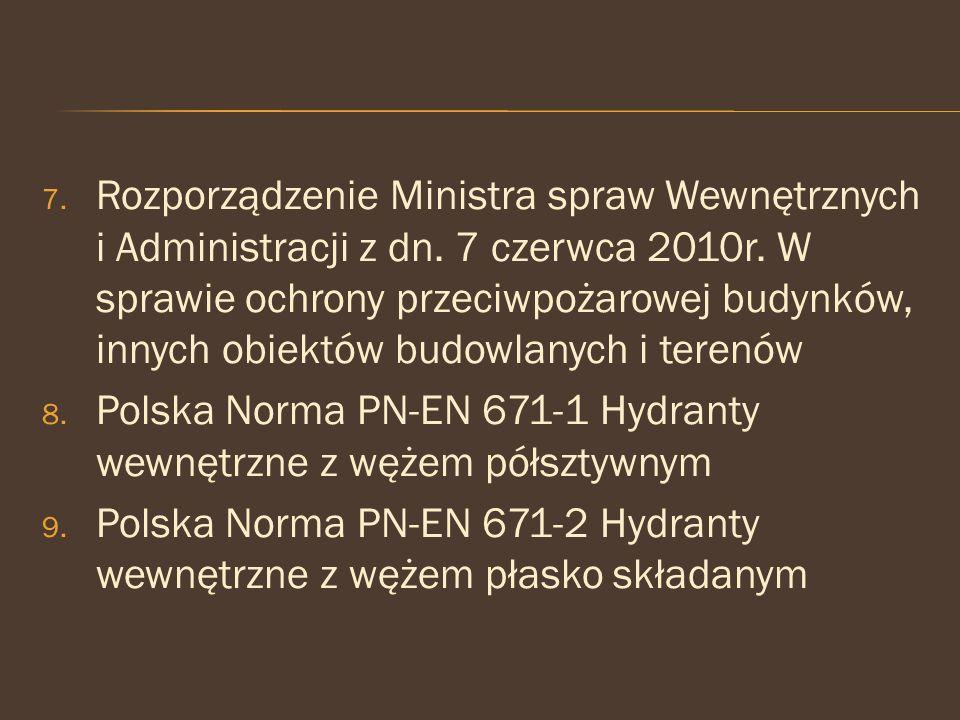 7. Rozporządzenie Ministra spraw Wewnętrznych i Administracji z dn. 7 czerwca 2010r. W sprawie ochrony przeciwpożarowej budynków, innych obiektów budo