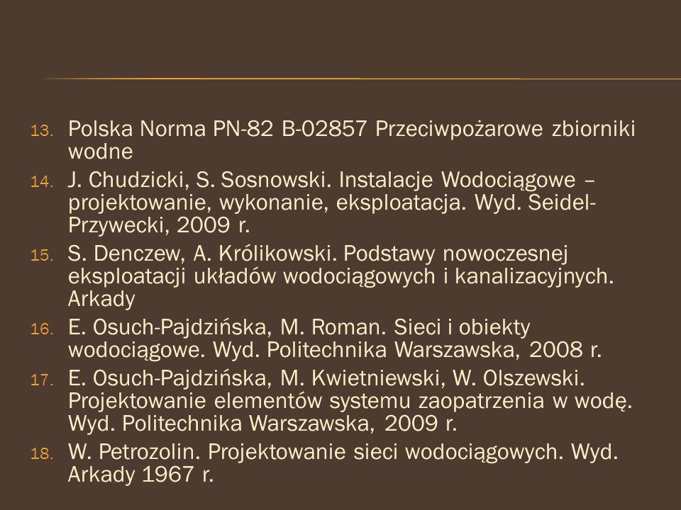 13. Polska Norma PN-82 B-02857 Przeciwpożarowe zbiorniki wodne 14. J. Chudzicki, S. Sosnowski. Instalacje Wodociągowe – projektowanie, wykonanie, eksp