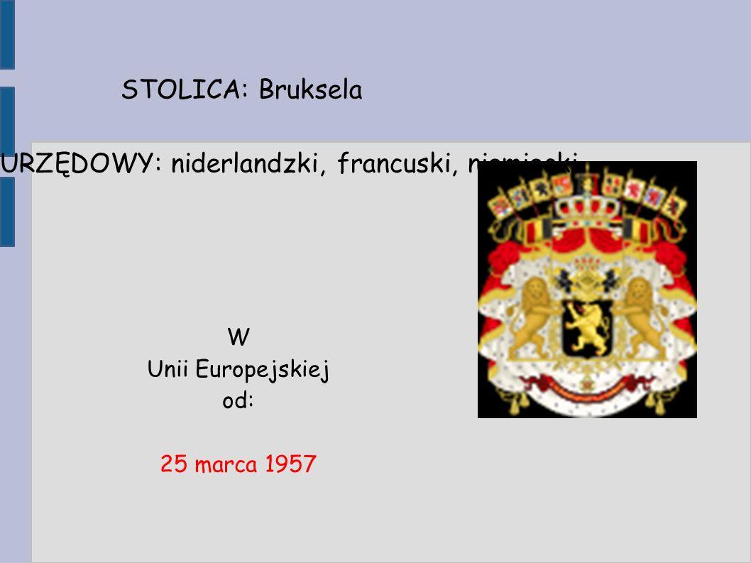 W Unii Europejskiej od: 25 marca 1957 STOLICA: Bruksela JĘZYK URZĘDOWY: niderlandzki, francuski, niemiecki