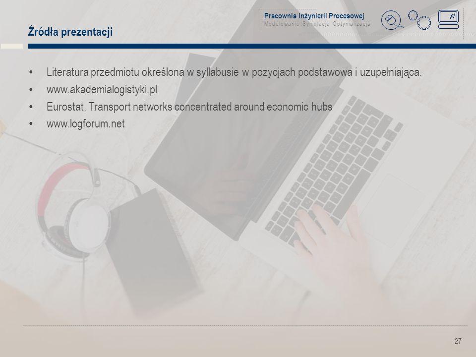 Pracownia Inżynierii Procesowej Modelowanie Symulacja Optymalizacja Źródła prezentacji Literatura przedmiotu określona w syllabusie w pozycjach podstawowa i uzupełniająca.