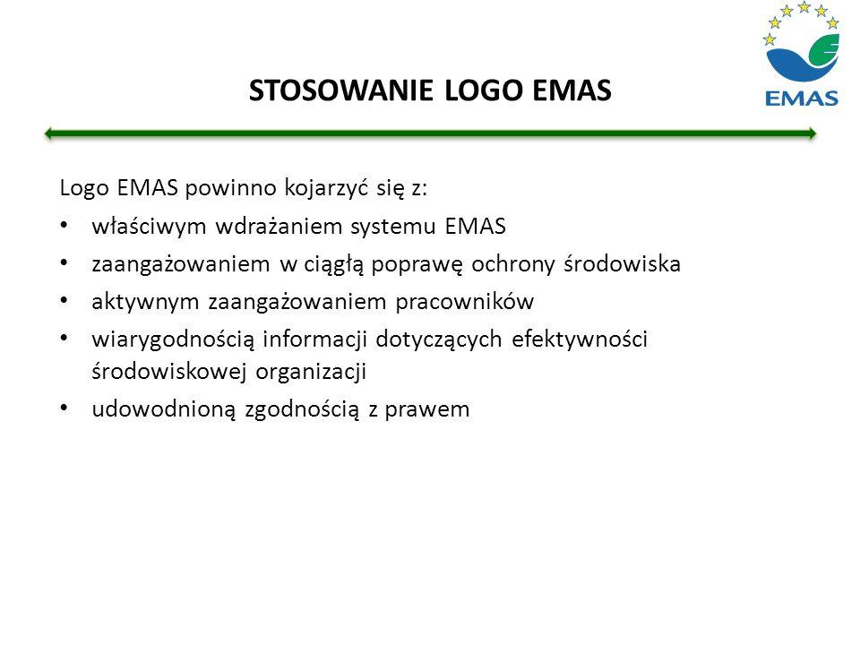 STOSOWANIE LOGO EMAS Logo EMAS powinno kojarzyć się z: właściwym wdrażaniem systemu EMAS zaangażowaniem w ciągłą poprawę ochrony środowiska aktywnym z