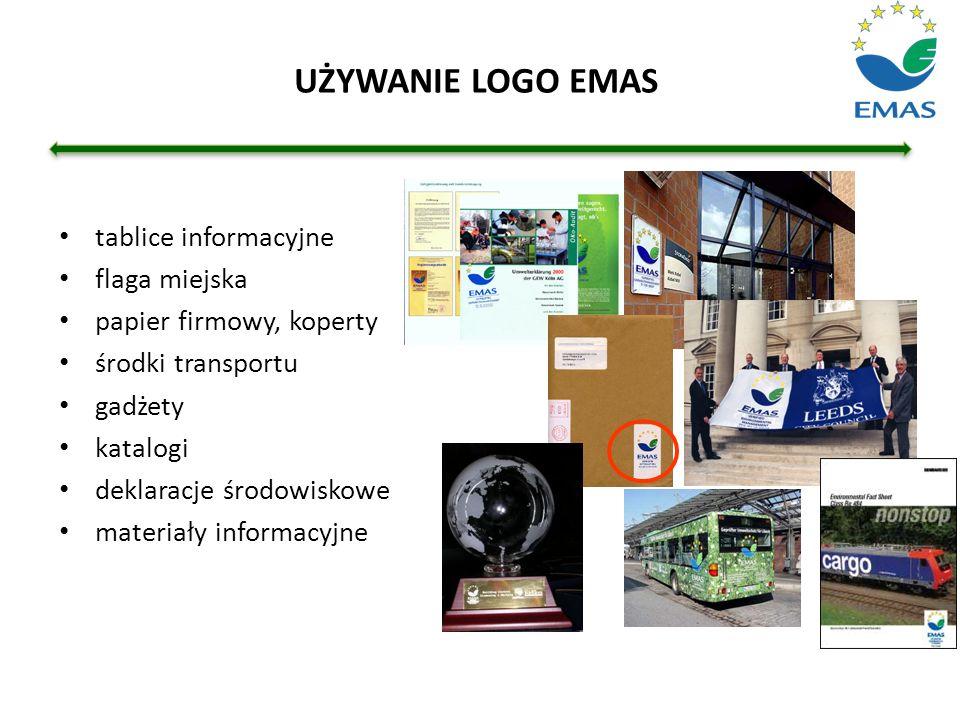 UŻYWANIE LOGO EMAS tablice informacyjne flaga miejska papier firmowy, koperty środki transportu gadżety katalogi deklaracje środowiskowe materiały inf