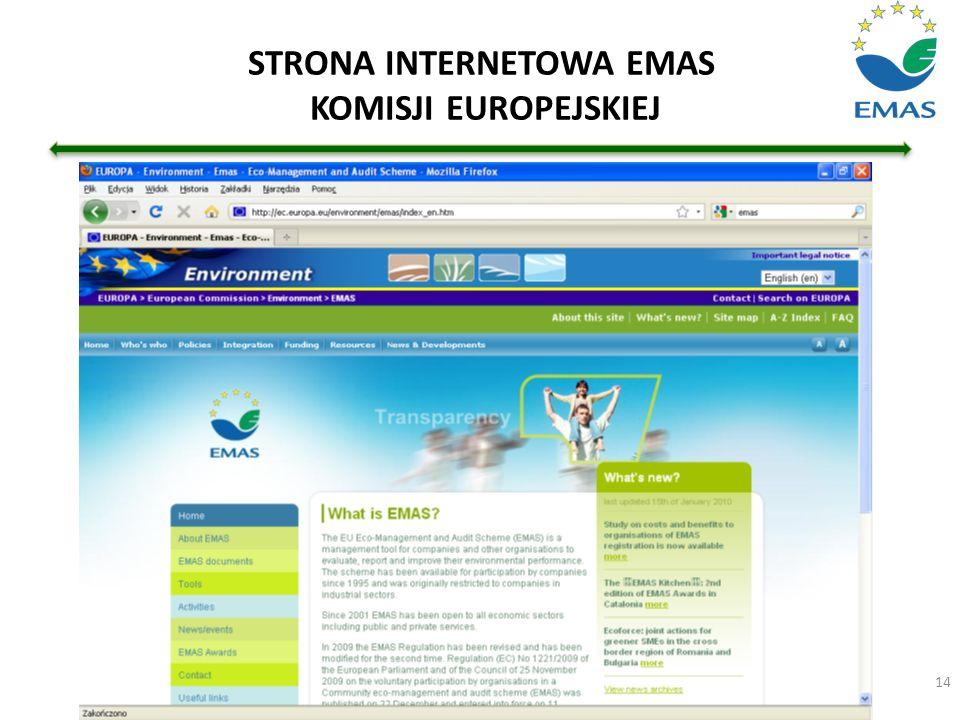 STRONA INTERNETOWA EMAS KOMISJI EUROPEJSKIEJ 14