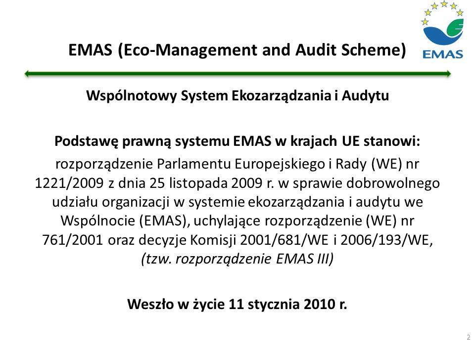 EMAS (Eco-Management and Audit Scheme) 2 Wspólnotowy System Ekozarządzania i Audytu Podstawę prawną systemu EMAS w krajach UE stanowi: rozporządzenie
