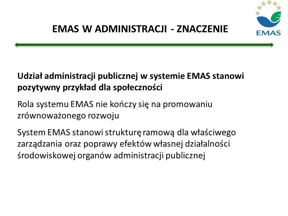 Udział administracji publicznej w systemie EMAS stanowi pozytywny przykład dla społeczności Rola systemu EMAS nie kończy się na promowaniu zrównoważon