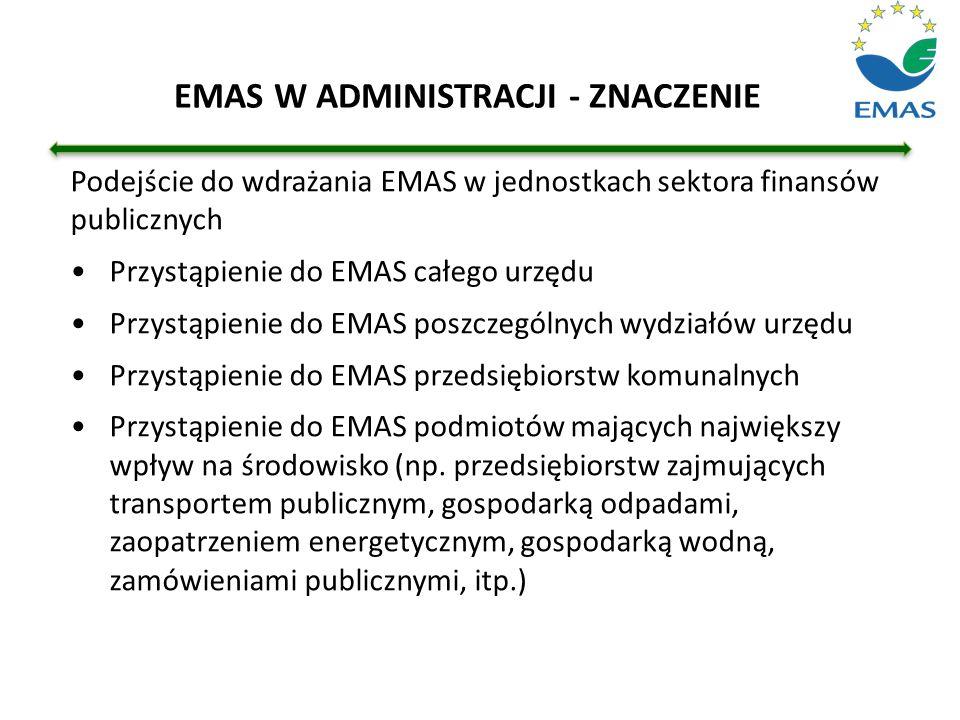 Podejście do wdrażania EMAS w jednostkach sektora finansów publicznych Przystąpienie do EMAS całego urzędu Przystąpienie do EMAS poszczególnych wydzia