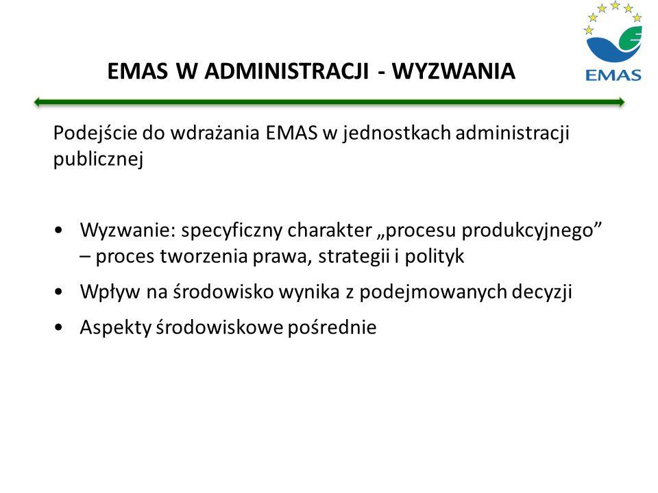 """Podejście do wdrażania EMAS w jednostkach administracji publicznej Wyzwanie: specyficzny charakter """"procesu produkcyjnego"""" – proces tworzenia prawa, s"""