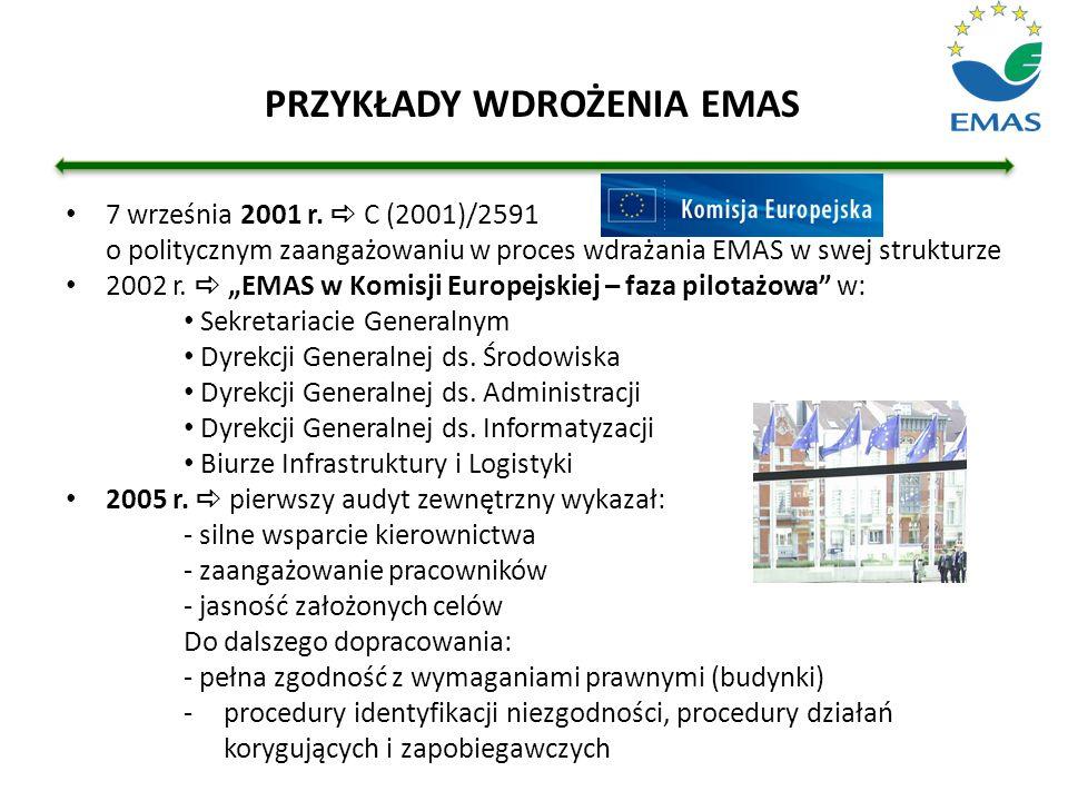 """7 września 2001 r.  C (2001)/2591 o politycznym zaangażowaniu w proces wdrażania EMAS w swej strukturze 2002 r.  """"EMAS w Komisji Europejskiej – faza"""