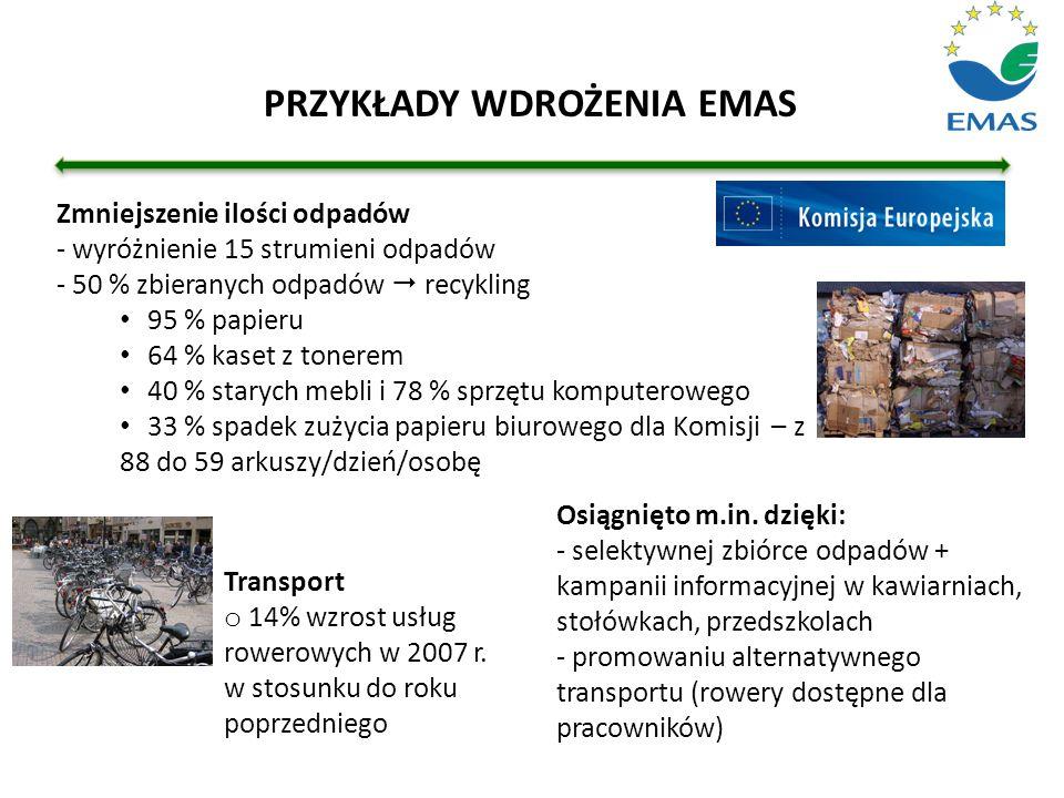 Transport o 14% wzrost usług rowerowych w 2007 r. w stosunku do roku poprzedniego Zmniejszenie ilości odpadów - wyróżnienie 15 strumieni odpadów - 50