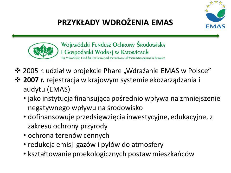 """ 2005 r. udział w projekcie Phare """"Wdrażanie EMAS w Polsce""""  2007 r. rejestracja w krajowym systemie ekozarządzania i audytu (EMAS) jako instytucja"""