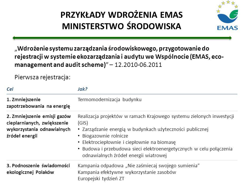 """""""Wdrożenie systemu zarządzania środowiskowego, przygotowanie do rejestracji w systemie ekozarządzania i audytu we Wspólnocie (EMAS, eco- management an"""
