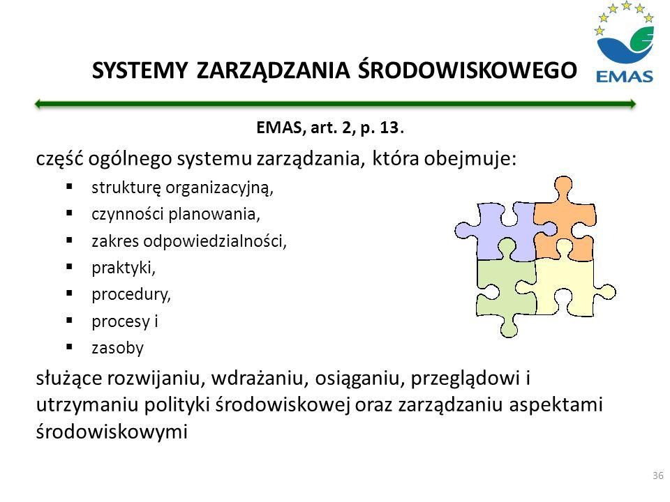 SYSTEMY ZARZĄDZANIA ŚRODOWISKOWEGO EMAS, art. 2, p. 13. część ogólnego systemu zarządzania, która obejmuje:  strukturę organizacyjną,  czynności pla