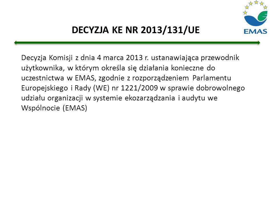 Decyzja Komisji z dnia 4 marca 2013 r. ustanawiająca przewodnik użytkownika, w którym określa się działania konieczne do uczestnictwa w EMAS, zgodnie