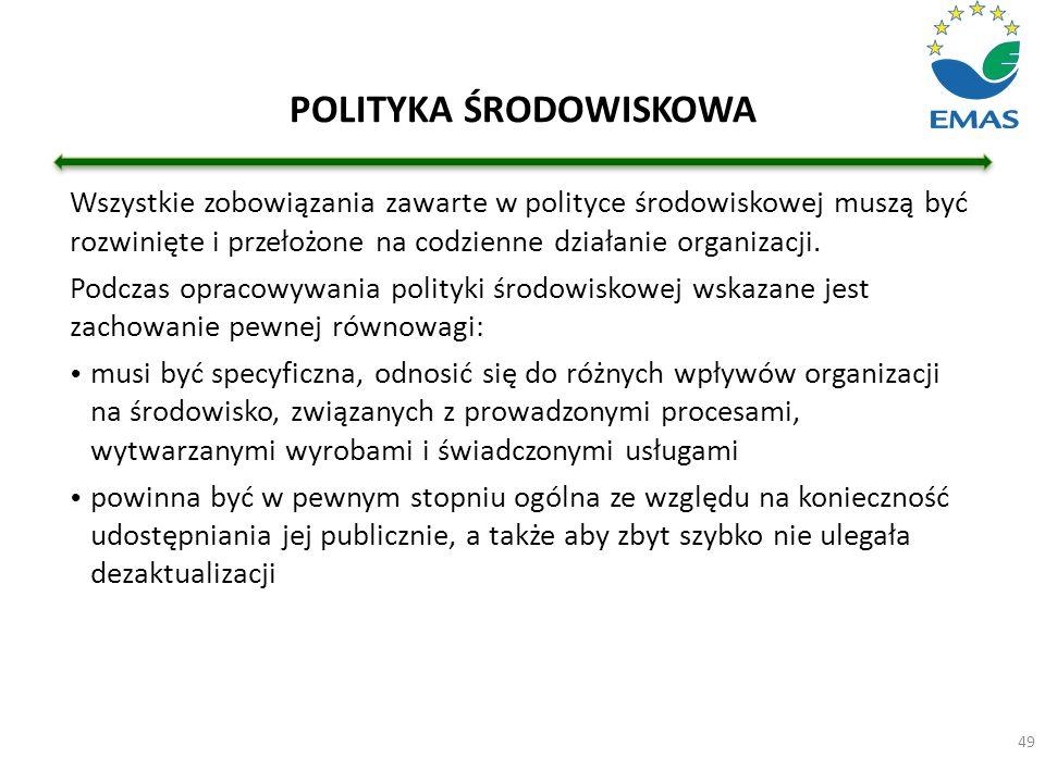 49 Wszystkie zobowiązania zawarte w polityce środowiskowej muszą być rozwinięte i przełożone na codzienne działanie organizacji. Podczas opracowywania