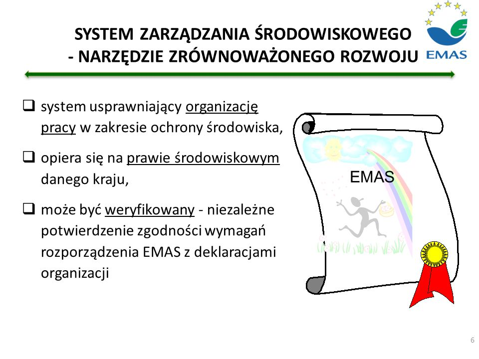 6 SYSTEM ZARZĄDZANIA ŚRODOWISKOWEGO - NARZĘDZIE ZRÓWNOWAŻONEGO ROZWOJU  system usprawniający organizację pracy w zakresie ochrony środowiska,  opier