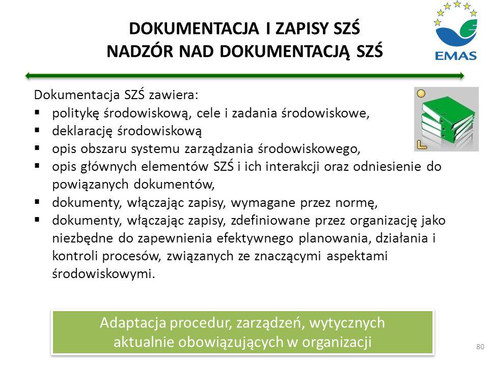 80 DOKUMENTACJA I ZAPISY SZŚ NADZÓR NAD DOKUMENTACJĄ SZŚ Dokumentacja SZŚ zawiera:  politykę środowiskową, cele i zadania środowiskowe,  deklarację