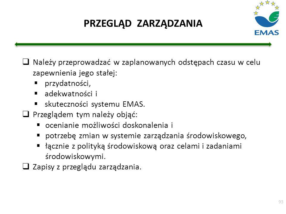  Należy przeprowadzać w zaplanowanych odstępach czasu w celu zapewnienia jego stałej:  przydatności,  adekwatności i  skuteczności systemu EMAS. 