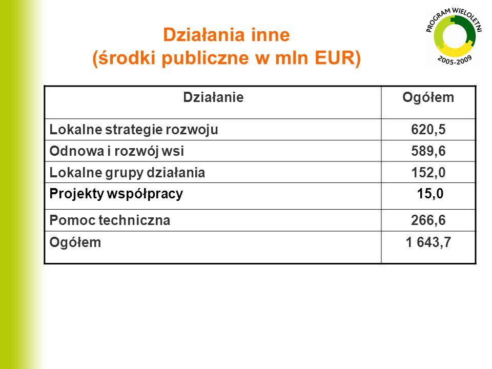 Działania inne (środki publiczne w mln EUR) DziałanieOgółem Lokalne strategie rozwoju620,5 Odnowa i rozwój wsi589,6 Lokalne grupy działania152,0 Proje