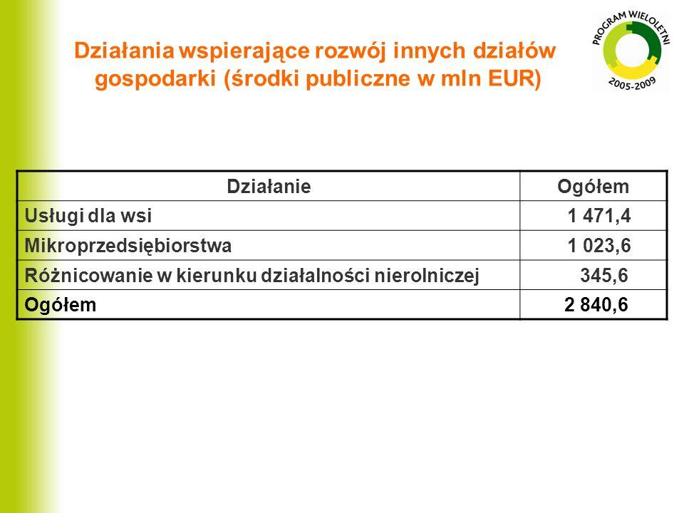 Działania wspierające rozwój innych działów gospodarki (środki publiczne w mln EUR) DziałanieOgółem Usługi dla wsi 1 471,4 Mikroprzedsiębiorstwa 1 023