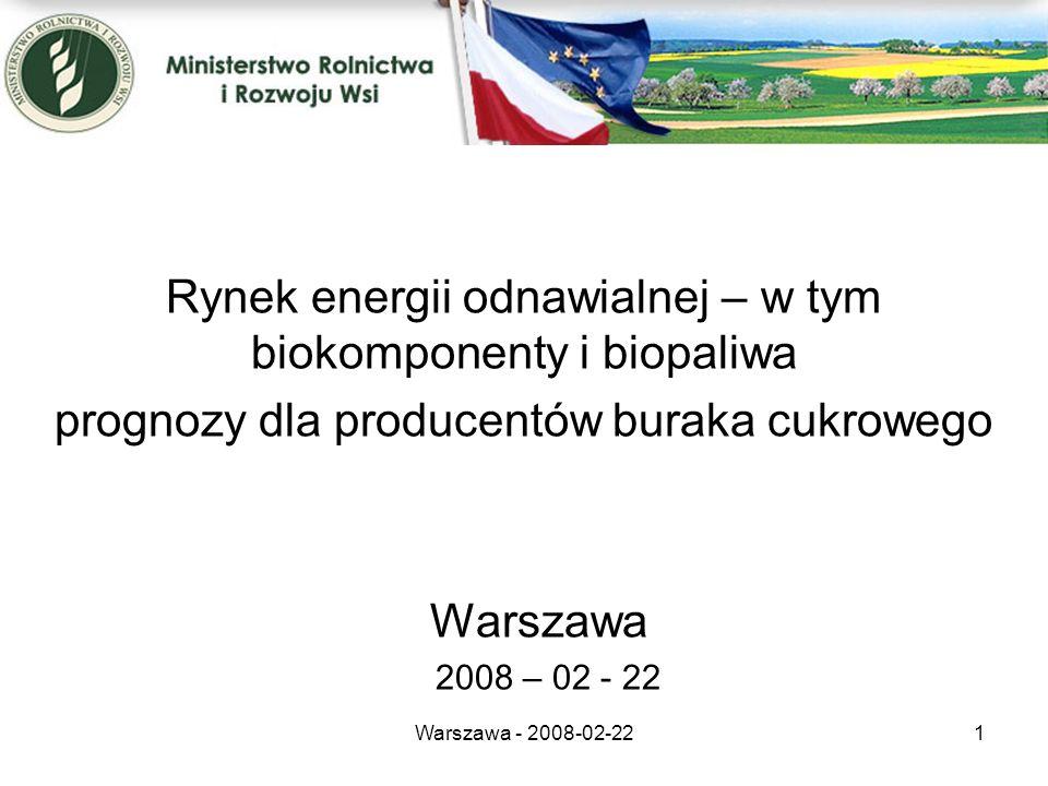 Warszawa - 2008-02-221 Rynek energii odnawialnej – w tym biokomponenty i biopaliwa prognozy dla producentów buraka cukrowego Warszawa 2008 – 02 - 22