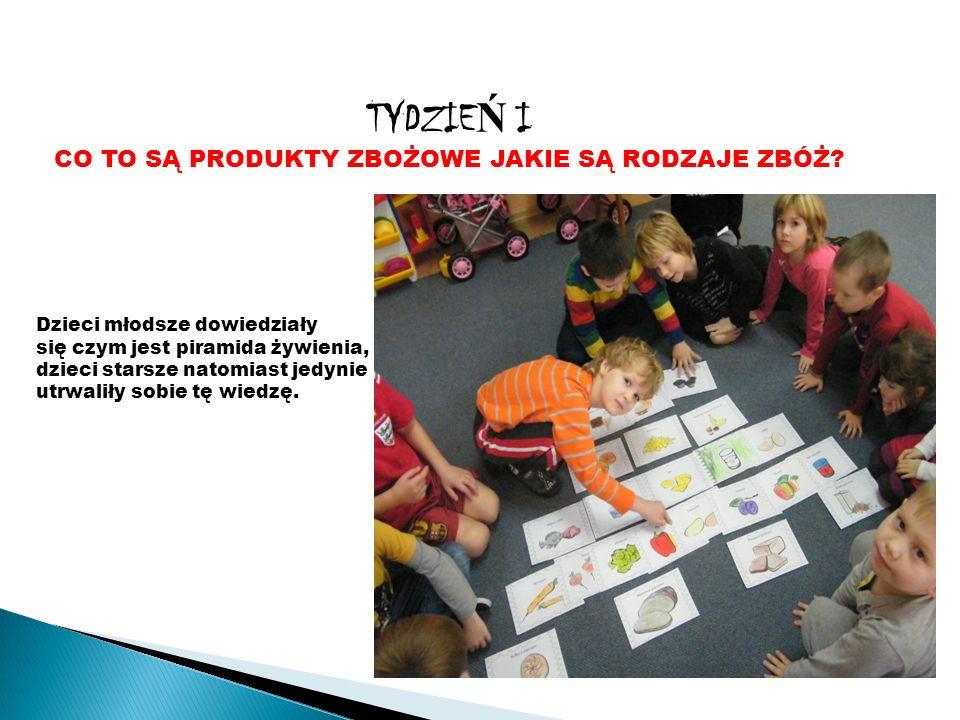 Po utrwaleniu pięter piramidy żywienia dzieci poznały produkty zbożowe.