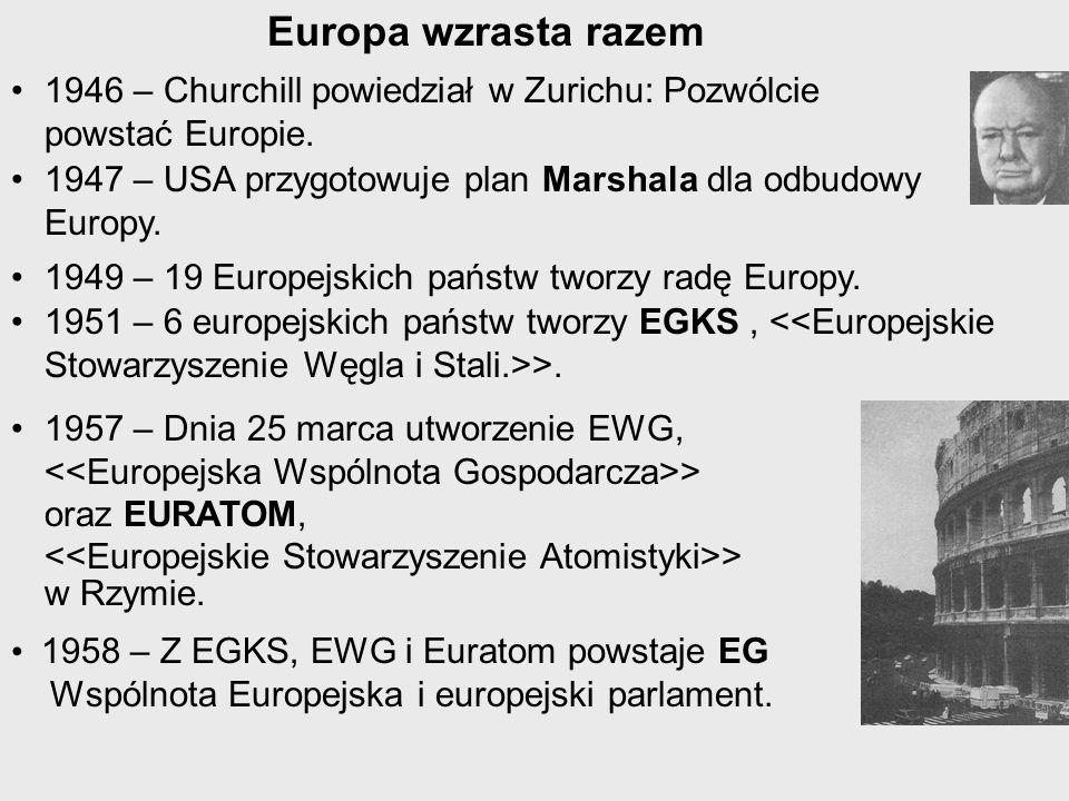 Europa wzrasta razem 1946 – Churchill powiedział w Zurichu: Pozwólcie powstać Europie. 1947 – USA przygotowuje plan Marshala dla odbudowy Europy. 1949