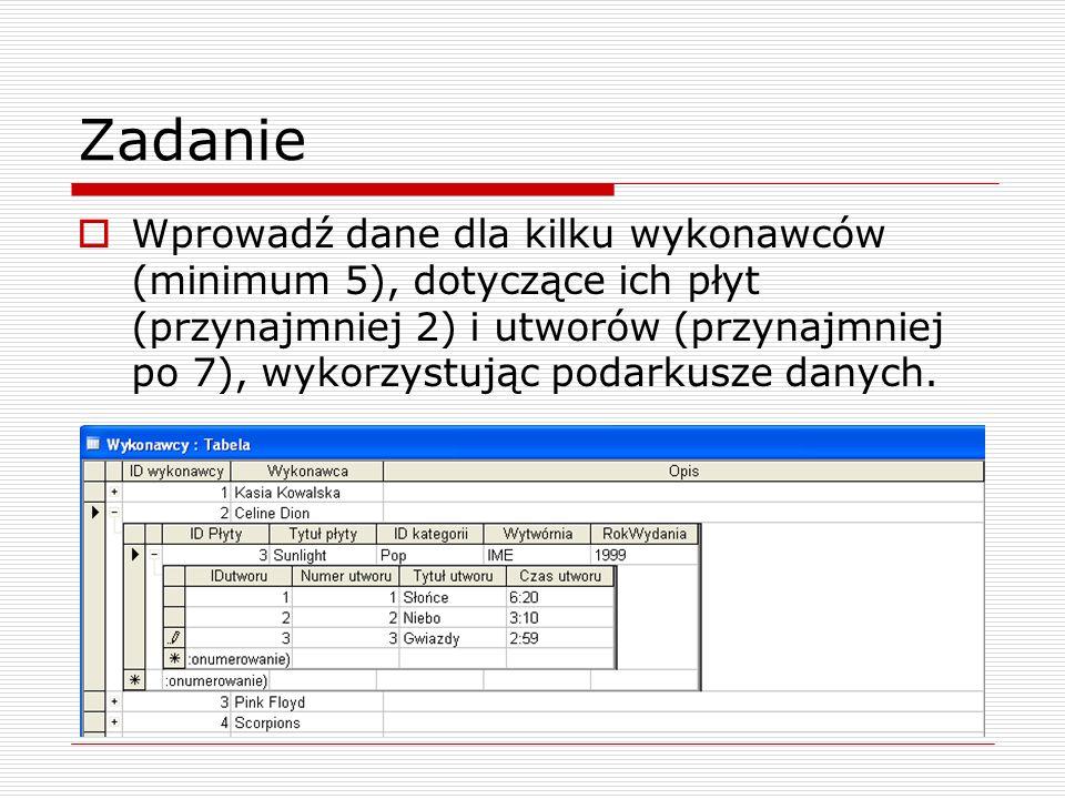 Zadanie  Wprowadź dane dla kilku wykonawców (minimum 5), dotyczące ich płyt (przynajmniej 2) i utworów (przynajmniej po 7), wykorzystując podarkusze danych.
