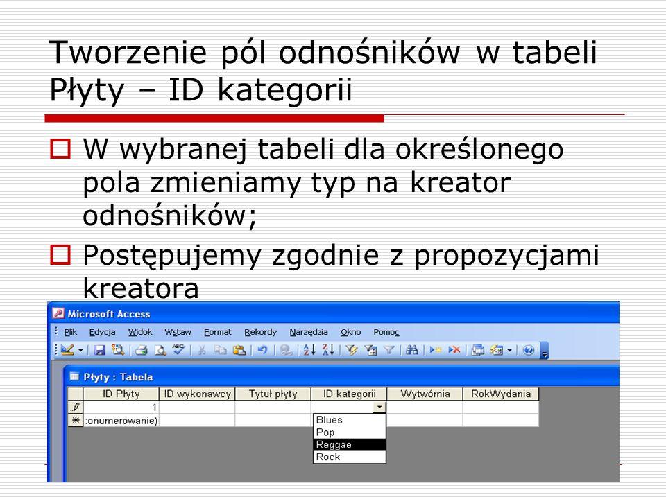 Tworzenie relacji  Okno z relacjami otwieramy z menu Narzędzia/Relacje  Kolejne tabele wybieramy, klikając prawym przyciskiem myszki w pustym polu okna Relacje.