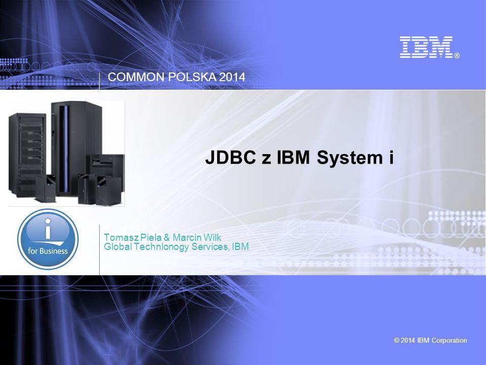 COMMON POLSKA JDBC z IBM System i © 2014 IBM Corporation 2 Typy sterowników JDBC TypImplementacjaCechy Type 1JDBC-ODBC brigde - Zależny od platformy - Wymaga instalacji i konfiguracji sterownika ODBC i połączenia do bazy po stronie klienta - Translacja z JDBC na ODBC daje narzut wydajnościowy - Nie może być wykorzystywany w appletach Type 2JDBC Native API - Korzysta z natywnych wywołań API po stronie klienta - Jest kompilowany pod konkretny system operacyjny - Nie może być wykorzystywany w appletach (JNI calls) - Lepsza wydajność niż Type 1 Type 3JDBC-Net pure Java (Network Protocol Driver) - Wymaga tzw 'middle-tier' – warstwy pośredniej - Jeden sterownik do wielu typów bazy - Rozwiązanie mocno elastyczne - Nie wymaga instalacji dodatkowego oprogramowania po stronie klienta Type 4Pure Java (Native Protocol Driver) - Nie wymaga instalacji dodatkowego oprogramowania po stronie klienta - Niezależny od platformy - Wydajny, zwykle dostarczany i optymalizowany przez dostawcę bazy danych