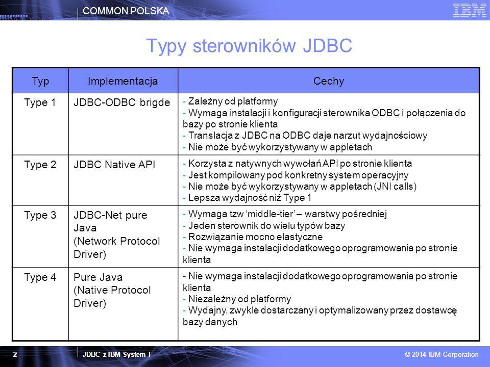 COMMON POLSKA JDBC z IBM System i © 2014 IBM Corporation 3 Sterownikia używane z IBM System i SterownikTypKlasa implementacjiPlik.jar IBM i Developer Kit for Java JDBC driver (tzw native driver) Type 2com.ibm.db2.jdbc.app.DB2Driverdb2_classes.jar IBM Toolbox for Java JDBC Driver Type 4 com.ibm.as400.access.AS400JDBC Driver jt400.jar IBM Toolbox for Java JDBC Driver with Native Optimization Type 2 com.ibm.as400.access.AS400JDBC Driver jt400Native.jar IBM DB2 Driver for JDBC and SQLJ (Universal DB2 driver) Type 2/4 COM.ibm.db2.jdbc.app.DB2Driver com.ibm.db2.jcc.DB2Driver db2java.zip/db2jcc.jar