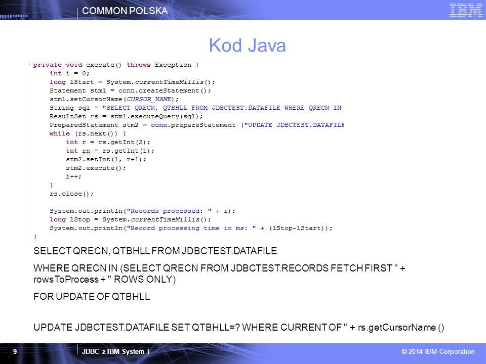COMMON POLSKA JDBC z IBM System i © 2014 IBM Corporation 10 Średnie czasy wykonania (ms) jt400.jarjt400Native.jardb2_classes.jar 326532963180 317532352195 328332802222 327232922216 317332002255