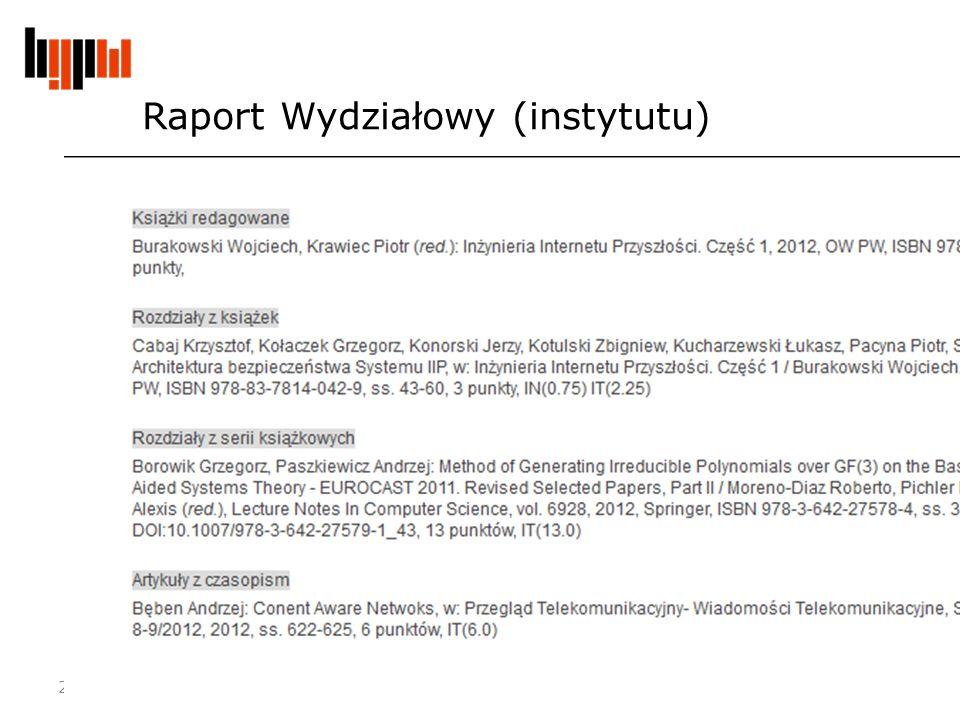 Raport Wydziałowy (instytutu) 2012-11-21 Centralna ewidencja dorobku i repozytorium PW