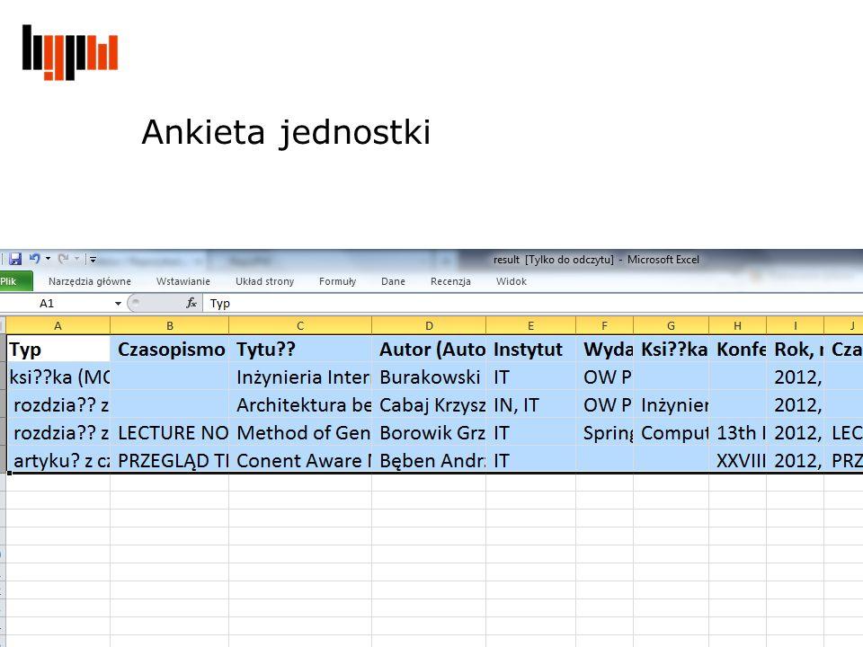2012-11-21 Centralna ewidencja dorobku i repozytorium PW Ankieta jednostki