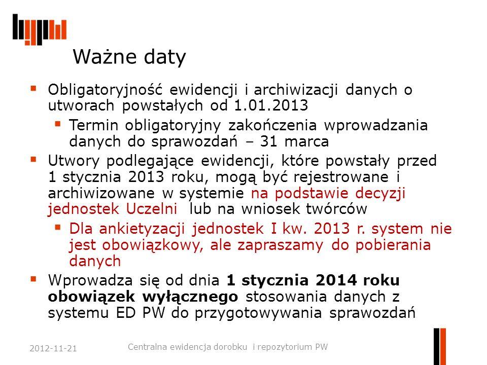Ważne daty  Obligatoryjność ewidencji i archiwizacji danych o utworach powstałych od 1.01.2013  Termin obligatoryjny zakończenia wprowadzania danych