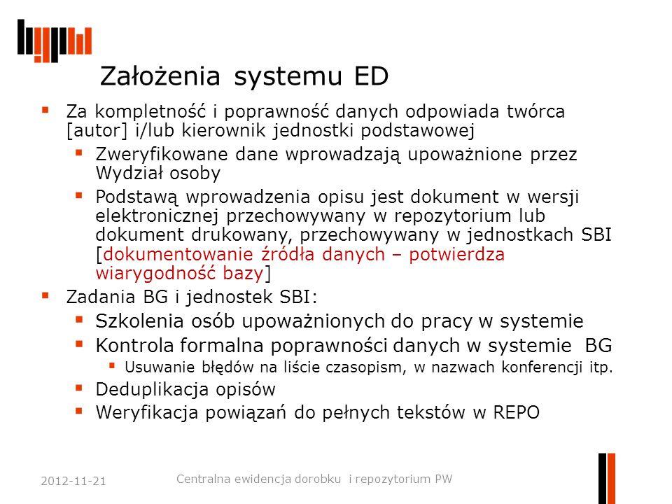 Założenia systemu ED  Za kompletność i poprawność danych odpowiada twórca [autor] i/lub kierownik jednostki podstawowej  Zweryfikowane dane wprowadz
