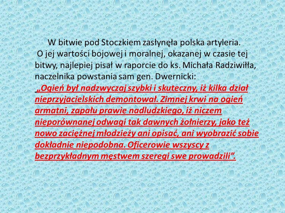 W bitwie pod Stoczkiem zasłynęła polska artyleria. O jej wartości bojowej i moralnej, okazanej w czasie tej bitwy, najlepiej pisał w raporcie do ks. M