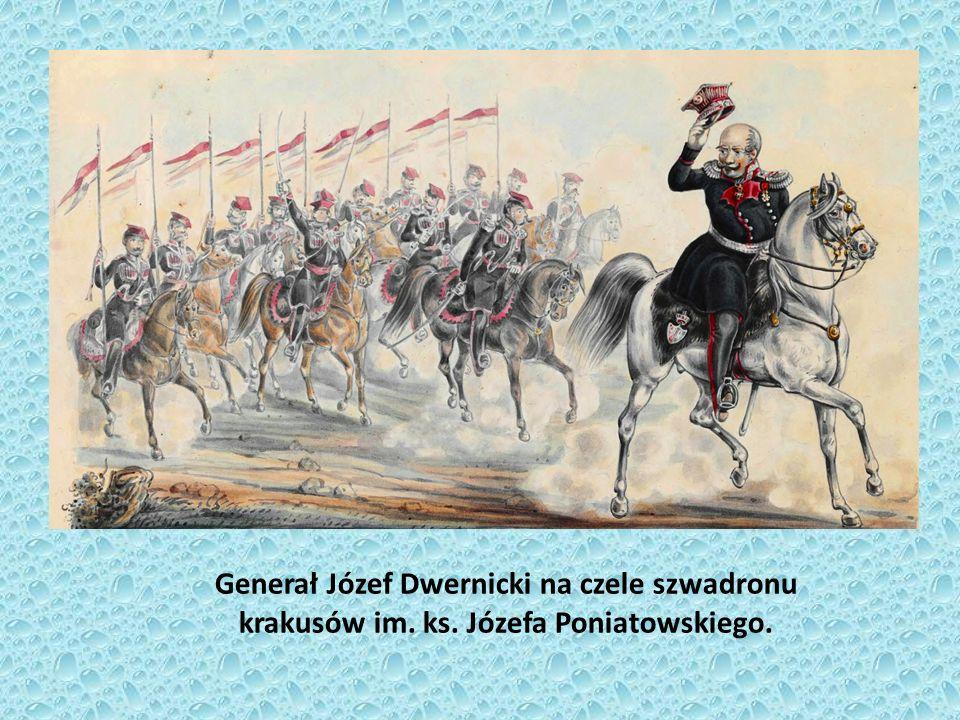 Generał Józef Dwernicki na czele szwadronu krakusów im. ks. Józefa Poniatowskiego.