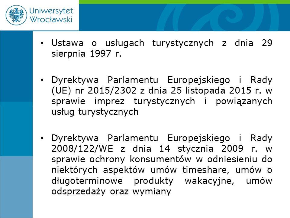 Ustawa o usługach turystycznych z dnia 29 sierpnia 1997 r.