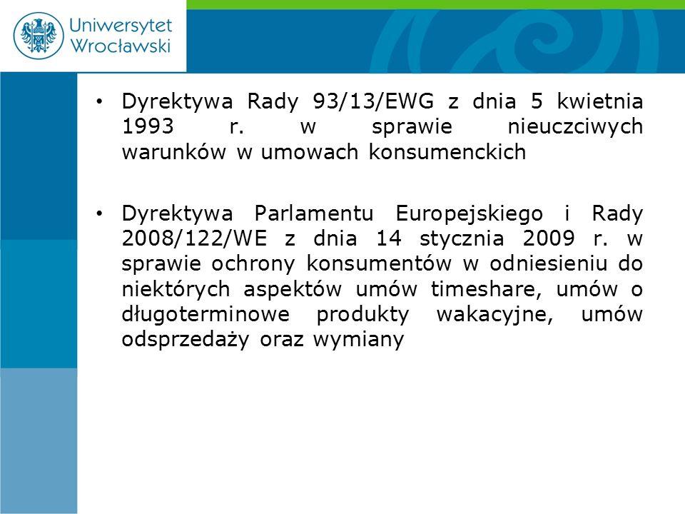 Dyrektywa Rady 93/13/EWG z dnia 5 kwietnia 1993 r.