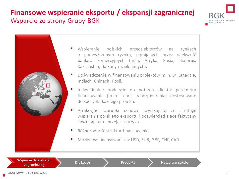 204/204/204 218/32/56 118/126/132 183/32/51 227/30/54 3 Finansowe wspieranie eksportu / ekspansji zagranicznej Wsparcie ze strony Grupy BGK Wsparcie d