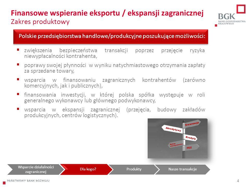 204/204/204 218/32/56 118/126/132 183/32/51 227/30/54 4 Polskie przedsiębiorstwa handlowe/produkcyjne poszukujące możliwości: Finansowe wspieranie eks
