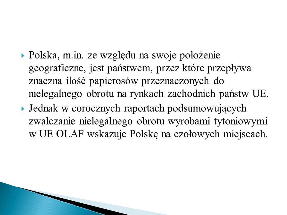 Polska, m.in. ze względu na swoje położenie geograficzne, jest państwem, przez które przepływa znaczna ilość papierosów przeznaczonych do nielegalne