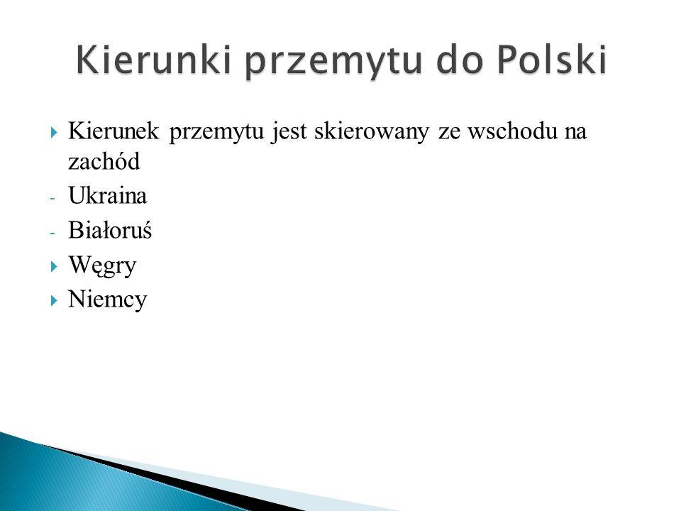  Kierunek przemytu jest skierowany ze wschodu na zachód - Ukraina - Białoruś  Węgry  Niemcy