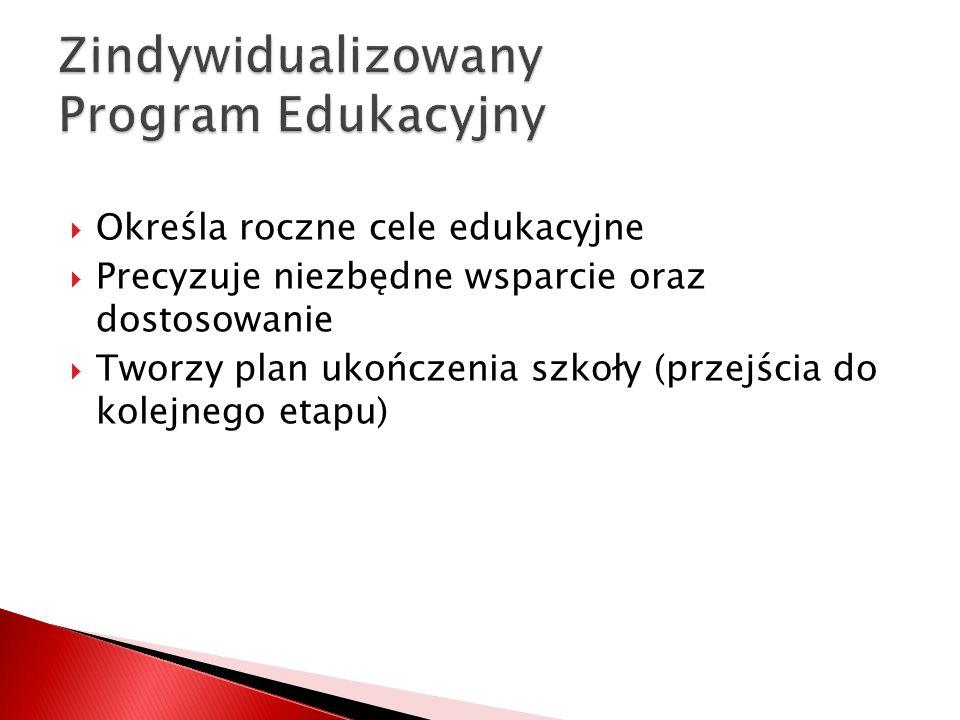  Określa roczne cele edukacyjne  Precyzuje niezbędne wsparcie oraz dostosowanie  Tworzy plan ukończenia szkoły (przejścia do kolejnego etapu)