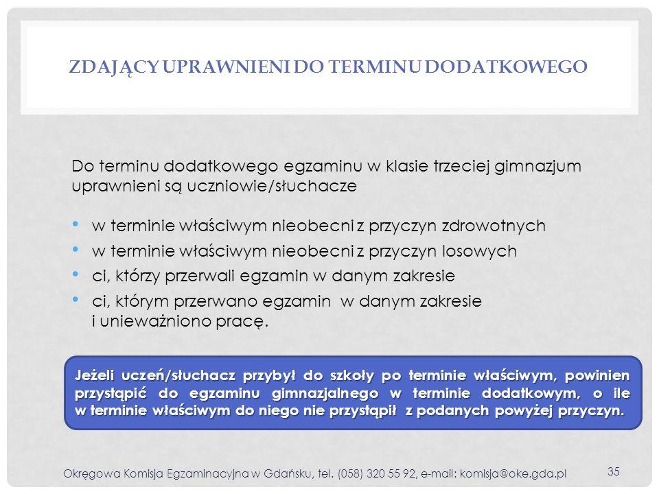 ZDAJĄCY UPRAWNIENI DO TERMINU DODATKOWEGO Okręgowa Komisja Egzaminacyjna w Gdańsku, tel.