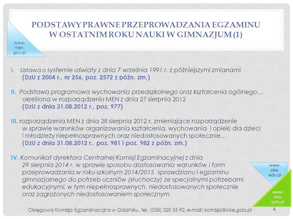 PODSTAWY PRAWNE PRZEPROWADZANIA EGZAMINU W OSTATNIM ROKU NAUKI W GIMNAZJUM (1) Okręgowa Komisja Egzaminacyjna w Gdańsku, tel.